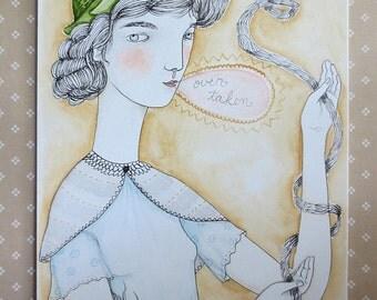 """Orginal Watercolour, pencil and pen on paper, """"Over Taken"""""""