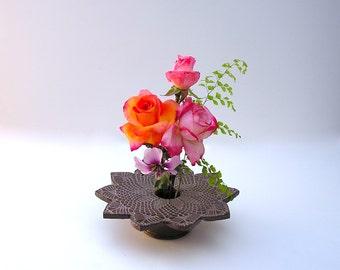 Doily Lace Ikebana Pottery Vase . chocolate brown vase . Kiln Fired Pottery