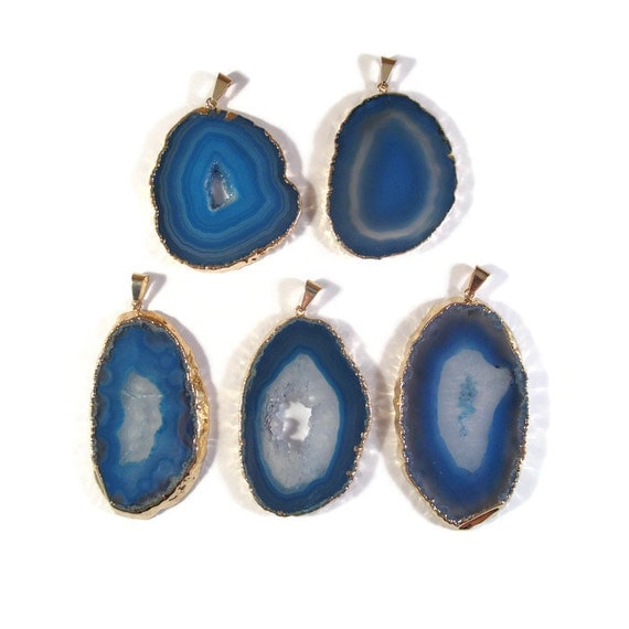 Blue Gemstone Charm, Agate Slice, Gemstone Pendant for Jewelry Making, Gold Plated Focal Pendant (C-Ag17)