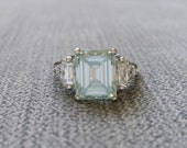 """Upgraded Ice Blue Moissanite and Diamond Engagement Ring Emerald Cut Baguette Classic Mint Gold timeless PenelliBelle Exclusive """"The Margo"""""""