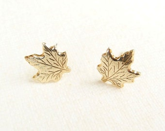 Maple Leaf Earrings, Forest Woodland Earrings, Canada Earrings, Tiny Stud Earrings, Golden Brass Leaf, Sterling Silver Hypoallergenic (E246)