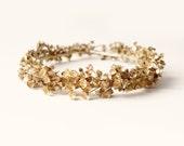 Golden baby's breath halo, Gold flower crown, Unique bridal headpiece, Wedding floral crown, Golden bridal wreath, Autumn wedding - ALCHEMY