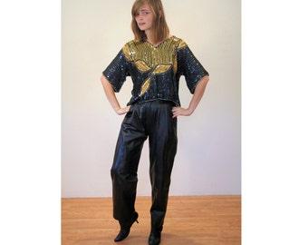 SALE! Christian Aujard Leather Pants, Vintage 80s Leather Pants, Designer Black Leather Trousers, Rock Star Club Kid Leather Pants S