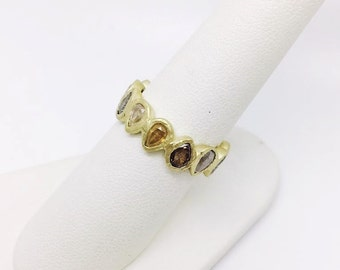 Multi Colored Natural Diamond Eternity Band Wedding or Engagement Ring Solid 18K Gold Handmade Custom Pear Shaped Rose Cut 3-4 Carats