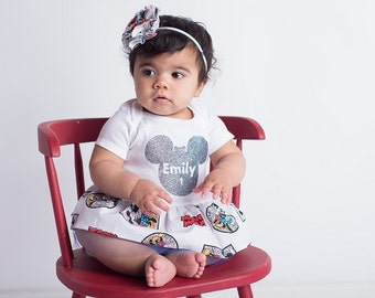 Mickey Mouse Dress - First Birthday Dress - Glitter Onesie - Personalized Dress  -Birthday Outfit - baby shower - newborn girl to 24 months