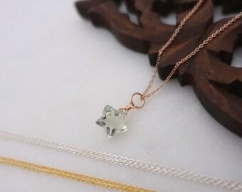 Rose Gold Green Amethyst Necklace, Rose Gold Star Necklace, Gold Filled Amethyst Star Necklace, Sterling Silver Green Amethyst Star Necklace