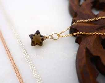 Star Necklace, Smoky Quartz Star Necklace, Rose Gold Filled Star Necklace, Sterling Silver Star Necklace, Oxidized Silver Star Necklace