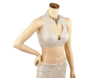 Madeline Top - Cream and Gold Lace -  bellydance, tribal fusion belly dance