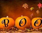 Pumpkin decor, BOO decal, Halloween vinyl wall decal, decoration for fall, door or window decal