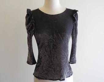 Black METALLIC 80s ruffle sleeve shirt sz. XS / Small / Medium