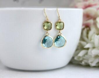 Wedding Earrings Peridot Green Aqua Blue Gold Glass Earrings Blue Wedding Lime Green Blue Wedding Modern Minimalist Green and Aqua Wedding