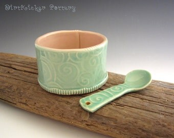 Pottery Salt Cellar with Spoon in Vintage Mint Green and Pink - Sugar Bowl - By DirtKicker Pottery