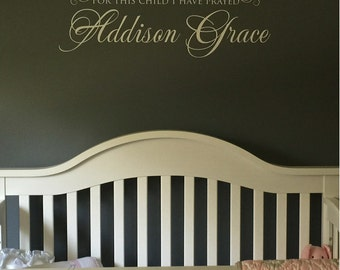 For this Child Vinyl Wall Decal, Baby Name Decal, Nursery Wall Decals, Christian Name Decals