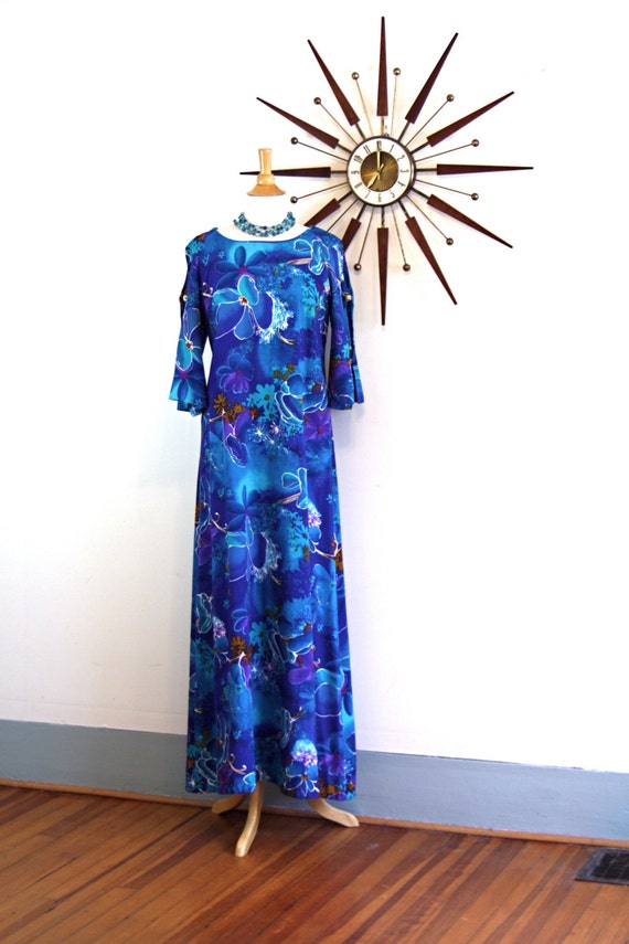Vintage 60s Pake Mu'u Maxi Dress By TWO POTATO Bright Blue Tropical Floral Print Open Ladder Sleeve Mu Mu Hawaiian Wedding 1960s Loungewear
