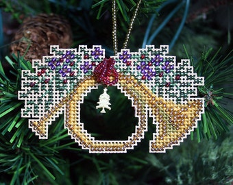 French Horn Ornament - Cross Stitched and Beaded Christmas Tree Ornament - Free U.S. Shipping
