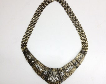 Novelty Necklace, 80's Art Deco Choker Statement Necklace with Rhinestones, Bronze Bib Necklace