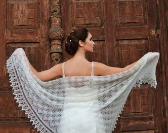 Knitted Lace Shawl, Made to Order , Wedding Shawl, Ivory Laces Stola, Bohemian Wedding Shawl, Mohair Silk Laces Wedding Wrap, Bridal Wrap,