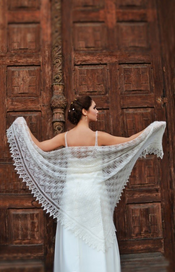 Knitted lace shawl, wedding shawl, mohair shawl, mohair marriage, ivory stola, bohemian wedding, mohair lace wrap, bridal wrap,