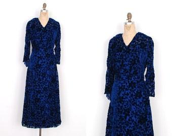 Vintage 1930s Dress / 30s Floral Silk Velvet Burnout Dress / Blue (S M)