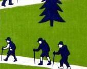 Japanese Tenugui Towel Cotton Fabric, Hand Dyed Fabric, Trekking Design, Tree, Trekking Pole, Green, Modern Art Fabric, Wall Hanging, h094