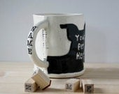 Pet Portrait mug personalized stamps on handle | custom pet coffee mug tea cup | made from your photos | paw print, name, i heart mom dad