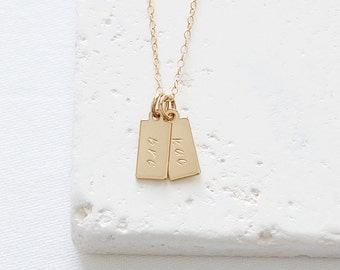 Tiny Initials Tag Necklace   gold or silver personalized necklace