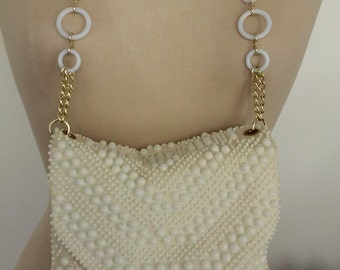 60s IVORY BEADED BAG--Hand Made in Hong Kong--Mod Chain Strap--Double Compartments