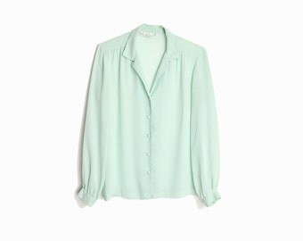 80s Vintage Sheer Mint Blouse / Long Sleeve Shirt / Seafoam Mint Green  - women's medium