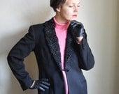 Black Wool 50ies Jacket with Mongolian Lamb fur collar - vintage tailored  Equestrian jacket, Winter jacket