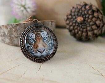 Tiger Amulet , Antique Copper Pendant, Glass Cabochon Pendant With Chain