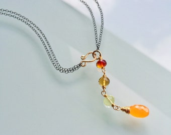 Lariat Necklace, Carnelian Necklace, Mixed Metal Necklace