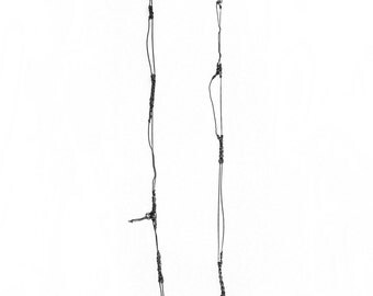 extra long contemporary crochet moth necklace, oxidized sterling silver