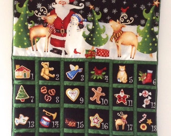 Advent Calendar, Quilted Santa Snowman Reindeer Traditional Festive Pictures