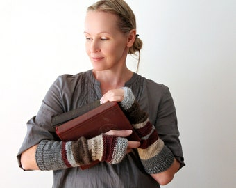 Hand knit arm warmers / urban rustic / cottage chic fingerless mitts / earthy brown / mulberry red / beige / winter arm cozy / mix and match