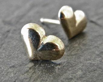 Heart Earrings - Heart Jewelry - Silver Earrings - Sterling Silver Earrings - Stud Earrings - Post Earrings - Sterling Silver Heart Earrings