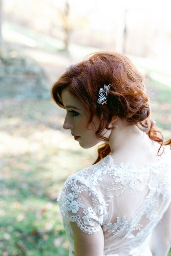 Art Nouveau Hair Comb, Scrolling Flowers, Floral Comb, Antique Silver Ox Brass, Silver Hair Comb, Flower, Flower Hair Comb SAVANNAH