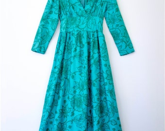 CLEARENCE>>> Handmade Vintage 1960s Turquoise & Green Floral Long Sleeve Maxi Dress