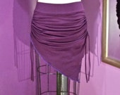 SALE Drawstring Asymmetrical Belly Dance Hip Skirt Plum/Purple Cotton Lycra size XL