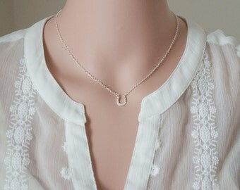 Dainty Silver Horseshoe Necklace - Solid Sterling Silver