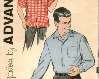 Nice Vintage 1960s Advance 9414 Mens Long or Short Sleeve Shirt Sewing Pattern Chest 42