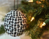 Classic Houndstooth Christmas Ornament ~ Unique Black & White Holiday Tree Decor ~ Folded Ribbon Pine Cone  ~ Trending Gift Item for Sister