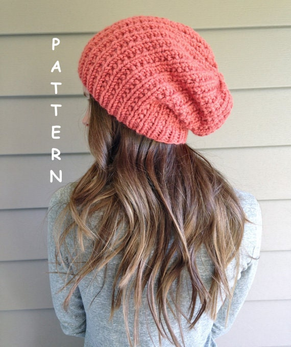 Slouchy Hat Beanie Knitting Pattern / by KnittingWonders on Etsy
