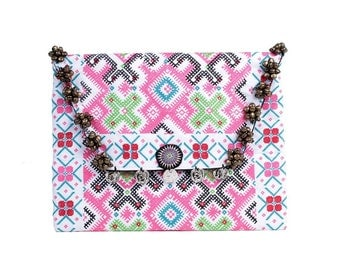 Pretty Bells Clutch With Embroidered Fabric Handmade Thailand (BG306WB-48C8)