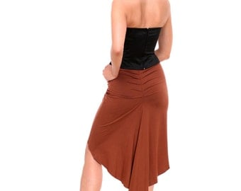 Tango Skirt Madame Pivot, Skirt for Tango in Custom Color, Jersey Tango Skirt for Milonga, Dance Skirt in Hazel, Brown Tango Skirt