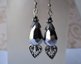 Gothic Earrings Heart Earrings Art Deco Earrings Art Nouveau Earrings 1920s Earrings Silver Earrings Black Crystal Earrings- Black Heart