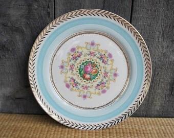 vintage floral dinner / serving plate - American Limoges - porcelain - 22.k gold trim
