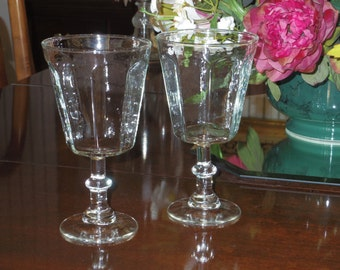 """2 LENOX ANTIQUE CLEAR Panel Fine Crystal 6 3/4"""" Tall Goblets Water Glasses Wafer Stems Pair Two Crystal Excellent Condition"""