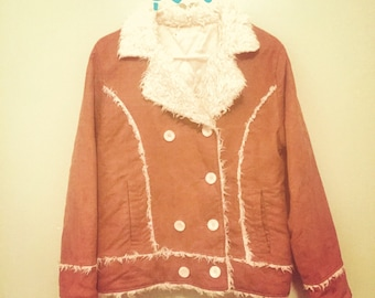 Penny Lane bohemian Faux shearling And suede rust and ivory ladies medium large coat