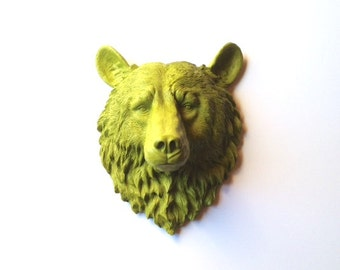 CHARTREUSE Large Faux Taxidermy Bear Head wall mount wall hanging / faux animal head / woodland decor / kids room decor office wall / nature