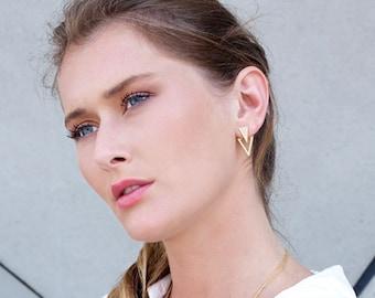 Triangle Ear Jackets, Double Sided Earrings, Geometric Stud Earrings, Front Back Earrings, Jackets Earrings, Boho Earrings Gold Plated Studs